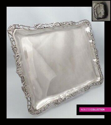 ELEGANT ANTIQUE 1880s FRENCH STERLING SILVER PLATTER SERVING TRAY Rococo 880g