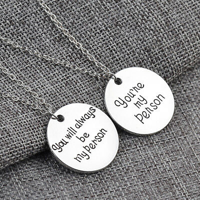 You Are My Person Silver Tone Necklace Best Friend Sister Couple Statement FG