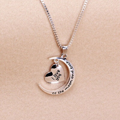I Love You To The Moon & Back Family Heart Necklace Pendant For Women Men FG