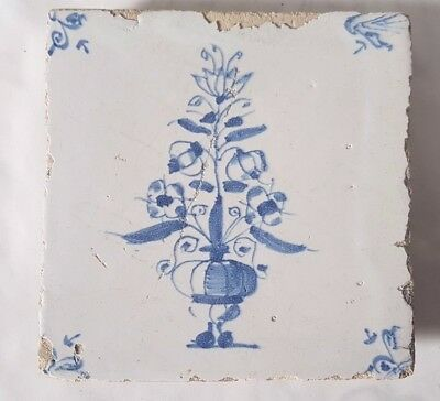 Antique Delft Tile  Hand Painted Floral Design