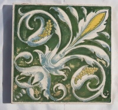 Rare Minton Hand Painted Victorian Antique 6 Inch Tile. Interesting Mark To Back