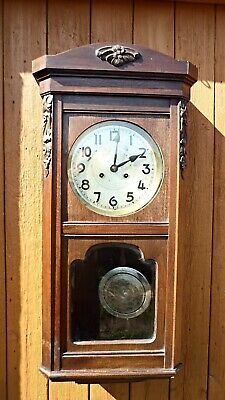Old Oak Wall Clock  Working Condition with Key