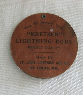 Original KRETZER LIGHTNING RODS Pocket Mirror ADVERTISING St Louis Lightning Rod