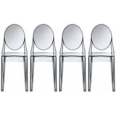 Set of 4 Transparent Modern Arm Less Plastic Acrylic Side Dining Chairs