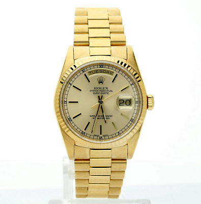 1990 Rolex President 18K yellow gold # 18238 36 MM champagne dial day date + box