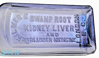Light amethyst OLD quack Dr Kilmer's SWAMP ROOT medicine bottle LONDON