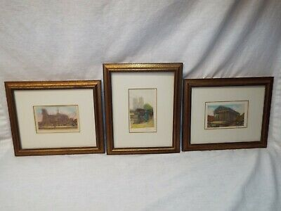 Set of 3 Vintage/ Antique Framed Victor Valery Etching Water Color Paintings Art