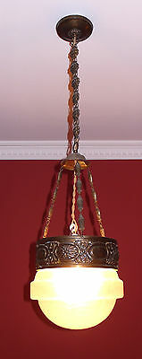 Auth 1900s Antique Art Nouveau Frosted-Glass Shade&Brass Chandelier Superb Chain