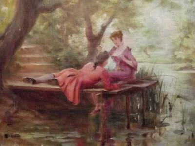 Jean Alfred Marioton 1864-1903 French Empire 19th Century Oil Elegants Fishing