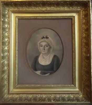 French First Empire Antique Society Oil Painting Portrait of a Noble Lady 1823