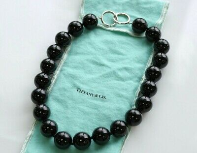 bed2bcc96 Tiffany & Co Paloma Picasso Onyx 18mm Bead Sterling Silver 16
