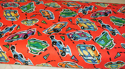 1 FQ Children Quilt Fabric Speed Racer Allover on Red Racing Cars