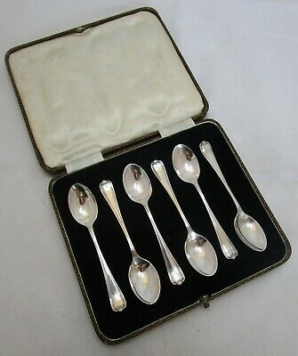 Cased set 6 Antique George V sterling silver coffee spoons, 48 grams, 1932