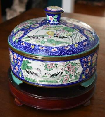 Museum Quality Antique Chinese Export Fine Hand Painted Enamel Ware Copper Dish