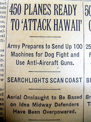 1935 NY Times newspaper w Prediction FOREIGN ENEMY ATTACK on PEARL HARBOR Hawaii