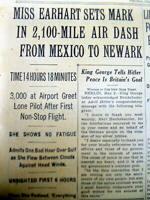 1935 NY Times newspaper AMELIA EARHART new aviation record  MEXICO to NEW JERSEY