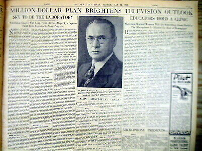 1935 NY Times newspaper VLADIMIR ZWORYKIN major role in INVENTION of TELEVISION