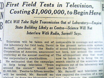1935 NY Times newspaper EARLY BROADCAST TELEVISION BEGINS TESTING  David Sarnoff