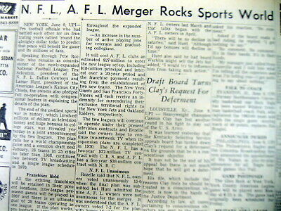 1966 newspaper NFL & AFL merge to form the present day NATIONAL FOOTBALL LEAGUE