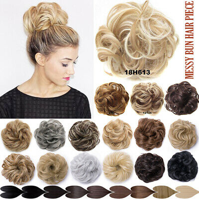 Real Natural Messy Hair Scrunchie Clip on Bun Ponytail Updo Extension Blonde Mix
