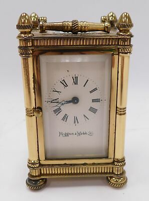 "Vintage MAPPIN & WEBB Brass Exposed Small 9cm 3.5"" CARRIAGE CLOCK w Key - H27"