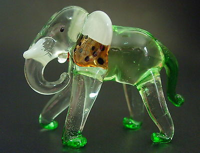 Charging African Glass ELEPHANT Tinted Glass Animal Curio Blown Glass Ornament