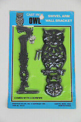 "Vintage Retro Cast Iron Owl Swivel Arm Wall Bracket 1975 5"" Mint On Card Decor"