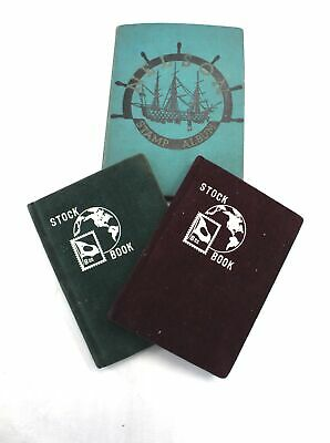Collection of 3 STAMP ALBUMS w/ Approx. 100+ Vintage World STAMPS incl GB - W13