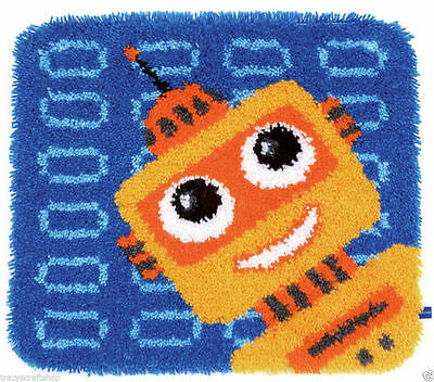 Funny Robot Latch Hook Kit  Rug Making Kit by Vervaco 55x47cm Inc Tool