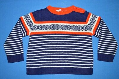 vintage 80s LITTLE ANGEL BLUE RED WHITE STRIPED ACRYLIC sweater SZ 2T