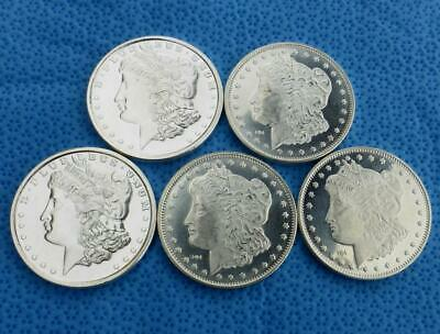 5 Morgan Style 1 Troy Ounce .999 Fine Silver Bullion Rounds, (5 oz Silver Total)