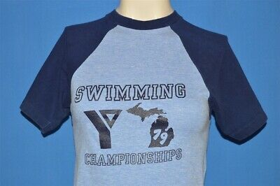 vintage 70s MICHIGAN YMCA SWIMMING CHAMPIONSHIPS BLUE t-shirt YOUTH LARGE YL