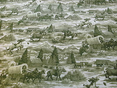 1 FQ Western Cowboy Quilting Fabric Scenic Toile Allover Green Horses