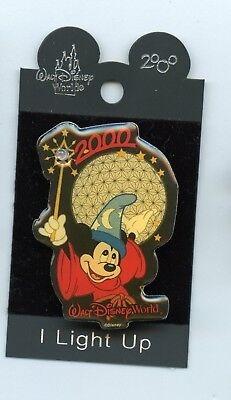 WDW Disney Epcot Sorcerer Mickey Mouse Wand Spaceship Earth Light-Up Pin & Card