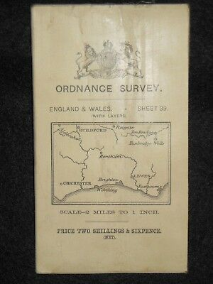 Vintage Ordnance Survey (O/S) Map of West Sussex - 1911 -  Sheet 39 - Horsham
