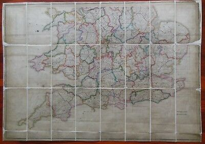 Ordnance Survey Map of England and Wales, c1830s - Hand Coloured - RARE, O/S