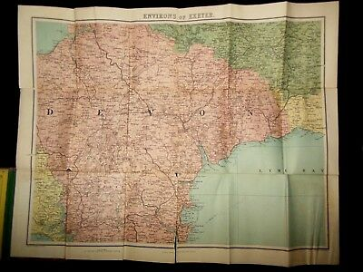 Victorian Folding Map of Exeter & Environs, c1880 Devon, Darmoor Forest/Lyme Bay