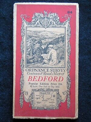 Vintage Ordnance Survey Folding Map - Bedford - c1938 - Sheet 84 - Beds/E Anglia