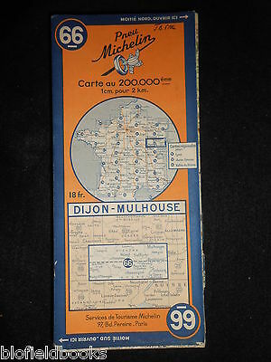Vintage French Michelin Map of DIJON/MULHOUSE (Feuille 66/Carte de France) c1944