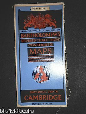 Vintage Map of Cambridge - 1947 - Bartholomew's Revised Half Inch Contoured 20