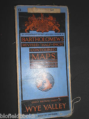 Vintage Bartholomew's Map of The Wye Valley - 1948 - Sheet 13, Welsh Borders