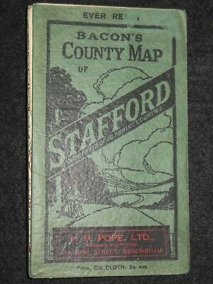 Bacon's Ever Ready County Map of Stafford c1920s, Vintage Map/Adjoining Counties