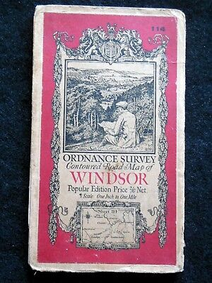 Vintage Ordnance Survey Folding Map - Windsor - 1923 - Sheet 114 - Hampshire