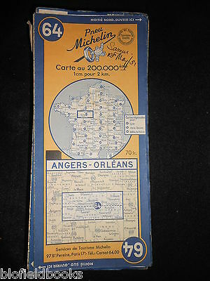 Vintage French Michelin Map of ANGERS/ORLEANS (Feuille 64/Carte de France) c1950