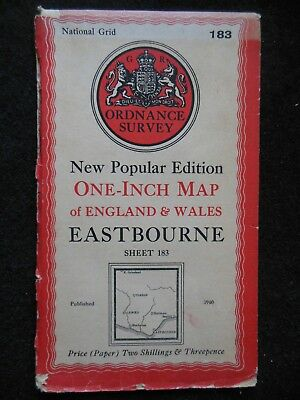 "VINTAGE ORDNANCE SURVEY 1"" MAP - Eastbourne (1940) Sussex, South Downs, Uckfield"