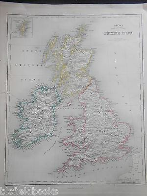 Bett's Family Atlas Map of the British Isles, c1848 - Colour Outlined, Ireland