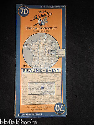 Vintage French Michelin Map of BEAUNE/EVIAN (Feuille 70/Carte de France) c1945