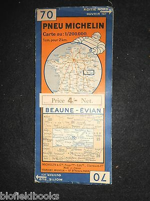 Vintage 1931 French Michelin Map of Beaune Evian (Feuille 70/Carte de France)
