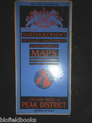 Vintage Bartholomew Contoured Colour Folding Map of the Peak District - c1930s