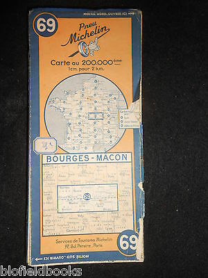 Vintage French Michelin Map of BOURGES/MACON (Feuille 69/Carte de France) c1945